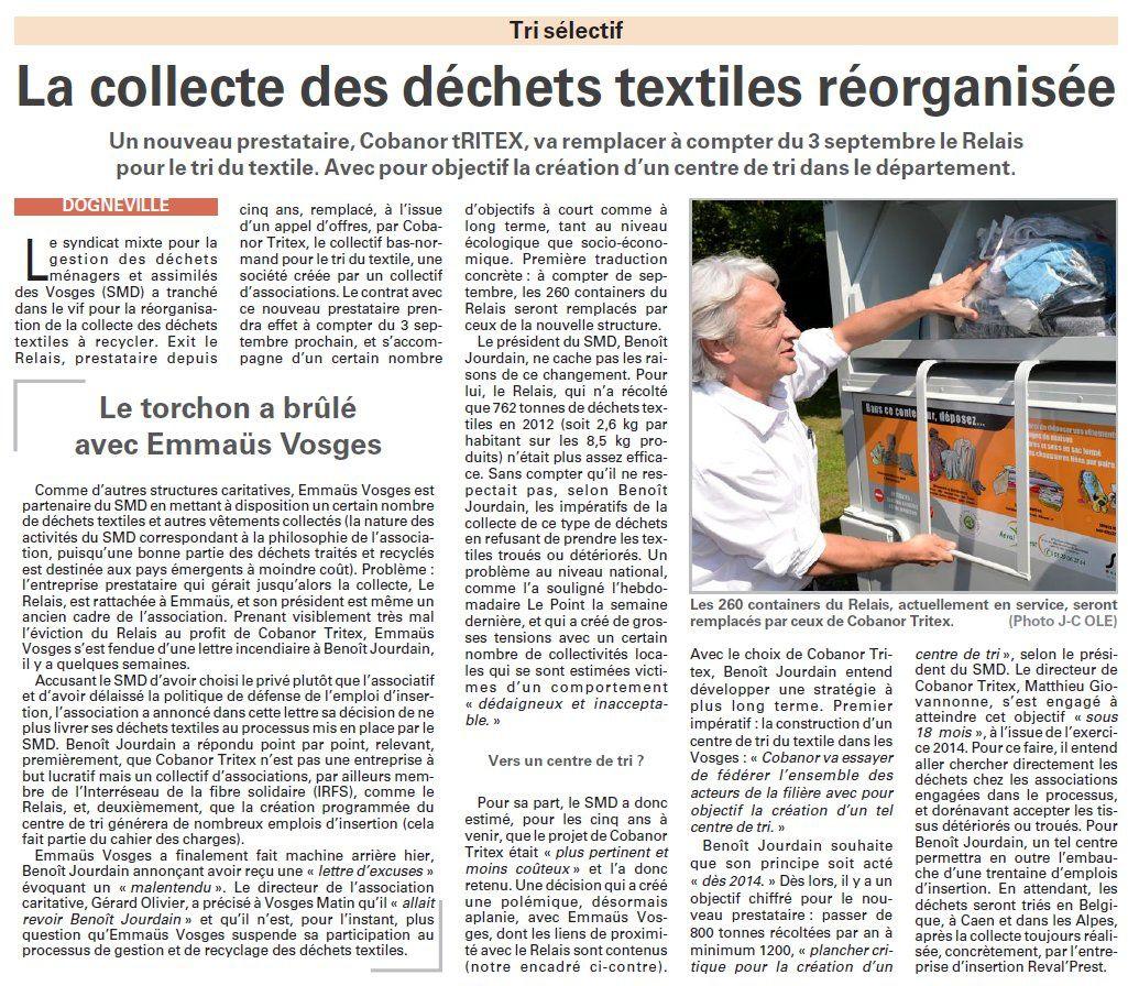 Vosges : La collecte des déchets textiles réorganisée (Vosges Matin)