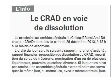 Le CRAD en voie de dissolution (Vosges Matin)