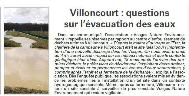 Villoncourt : Questions sur l'évacuation des eaux (Vosges Matin)