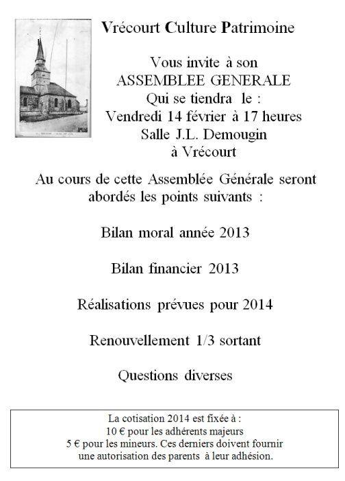 Association Vrécourt Culture Patrimoine : assemblée générale le 14 février 2014