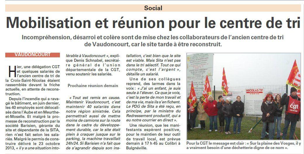 Vaudoncourt : Mobilisation et réunion pour le centre de tri (Vosges Matin)