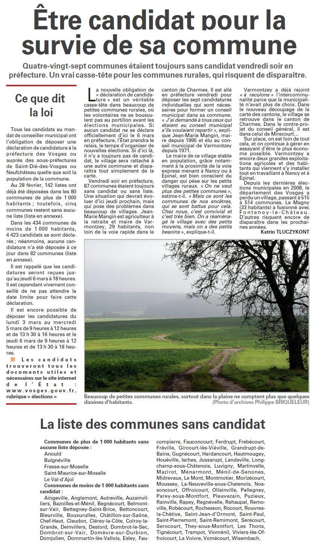 Etre candidat pour la survie de la commune (Vosges Matin)