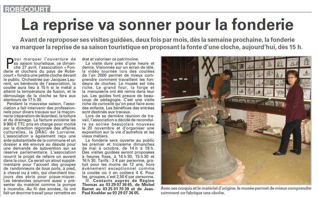 Robécourt : la reprise va sonner pour la fonderie (Vosges Matin)