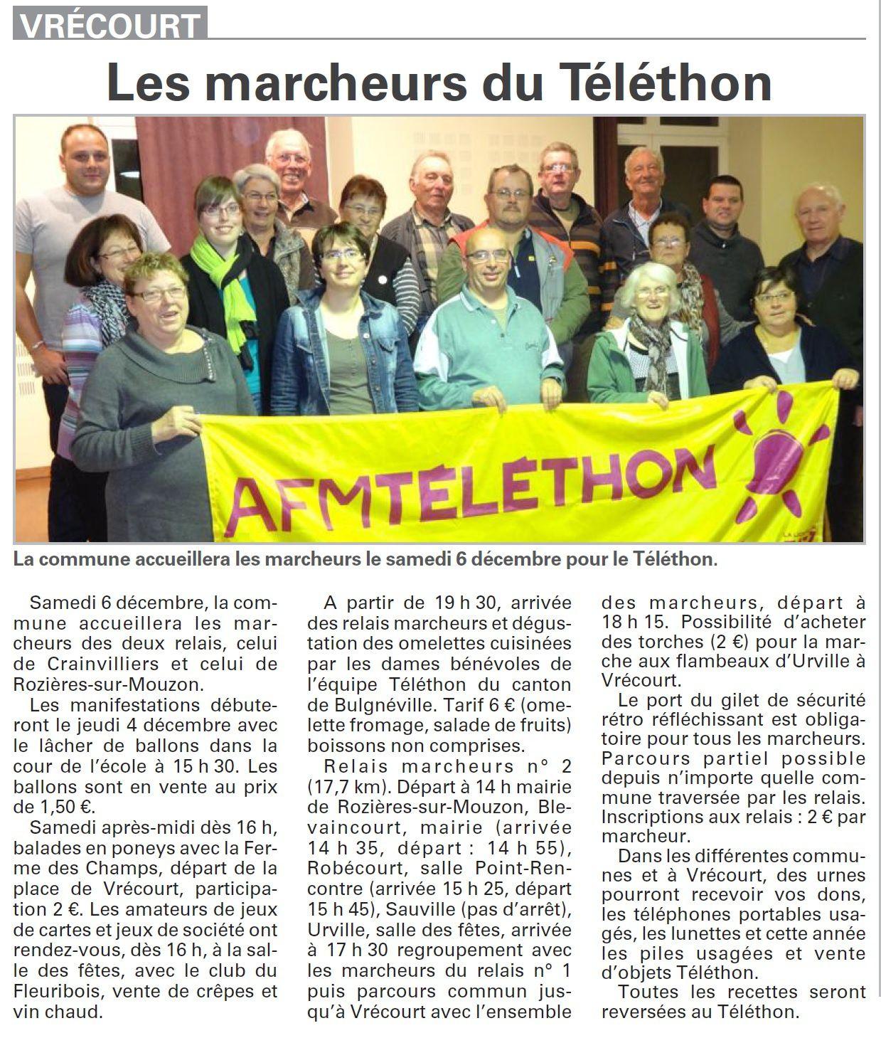 Vrécourt : Le Téléthon, ça nous concerne aussi (Association Vrécourt Culture Patrimoine)