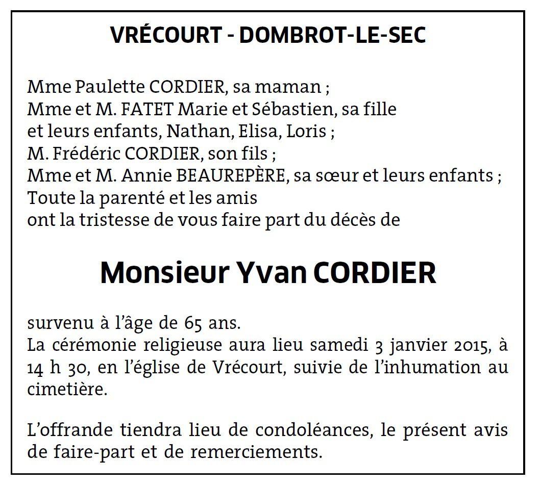 Vrécourt : Avis de décès de Monsieur Yvan CORDIER