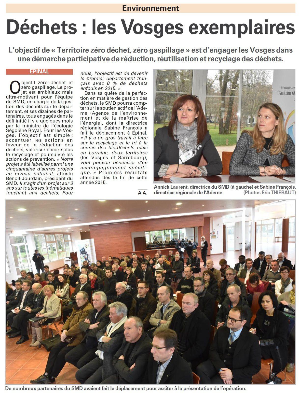 Vosges, SMD : Objectif &quot&#x3B;Territoire zéro déchet, zéro gaspillage&quot&#x3B; (Vosges Matin)