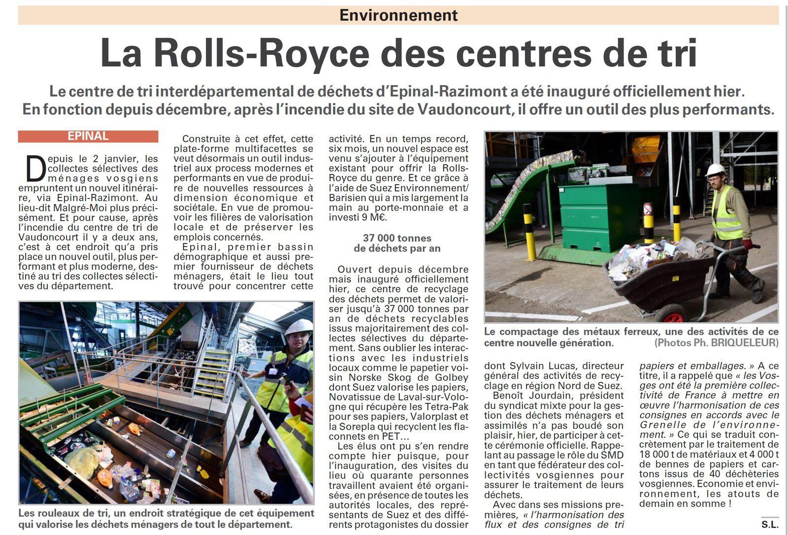 Epinal - Razimont : la Rolls-Royce des centres de tri (Vosges Matin)