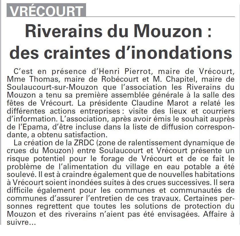 Vrécourt : Riverains du Mouzon, des craintes d'inondations (Vosges Matin)