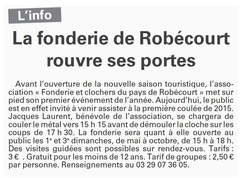 Robécourt : La fonderie rouvre ses portes (Vosges Matin)