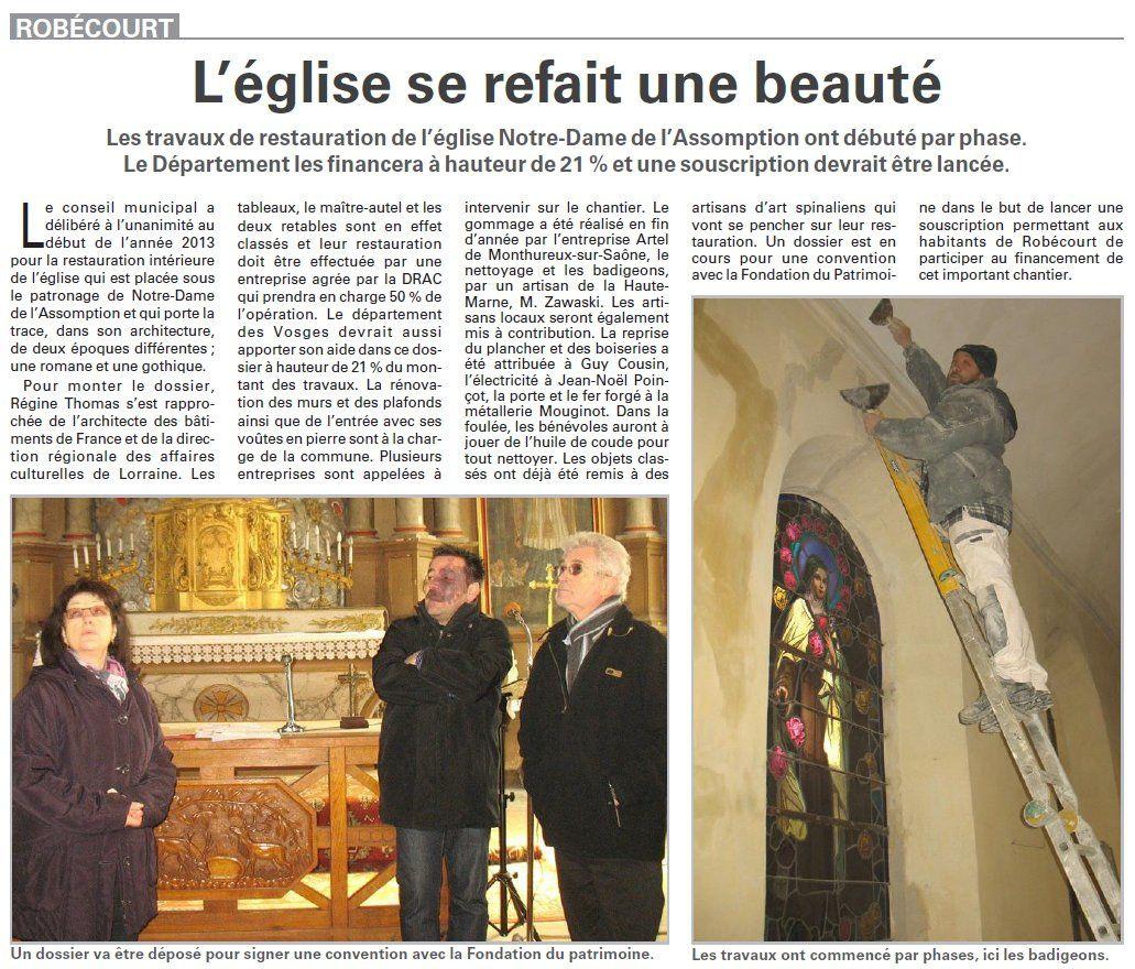 Robécourt : L'église se refait une beauté (Vosges Matin)