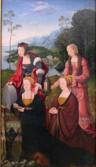 Devant deux femmes en prières, Sainte Christine  reconnaissable à sa meule est accompagnée de Ste Gudule. Huile de Joos van Cleve, élément d'un triptyque à Marie, ancienne Pinacothèque de Munich.