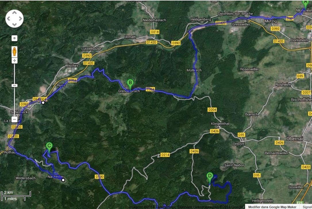 ITINERAIRE ALLER - Molsheim Mont St Odile.....................................LA PÉPÈTE FONCE VERS MOLSHEIM
