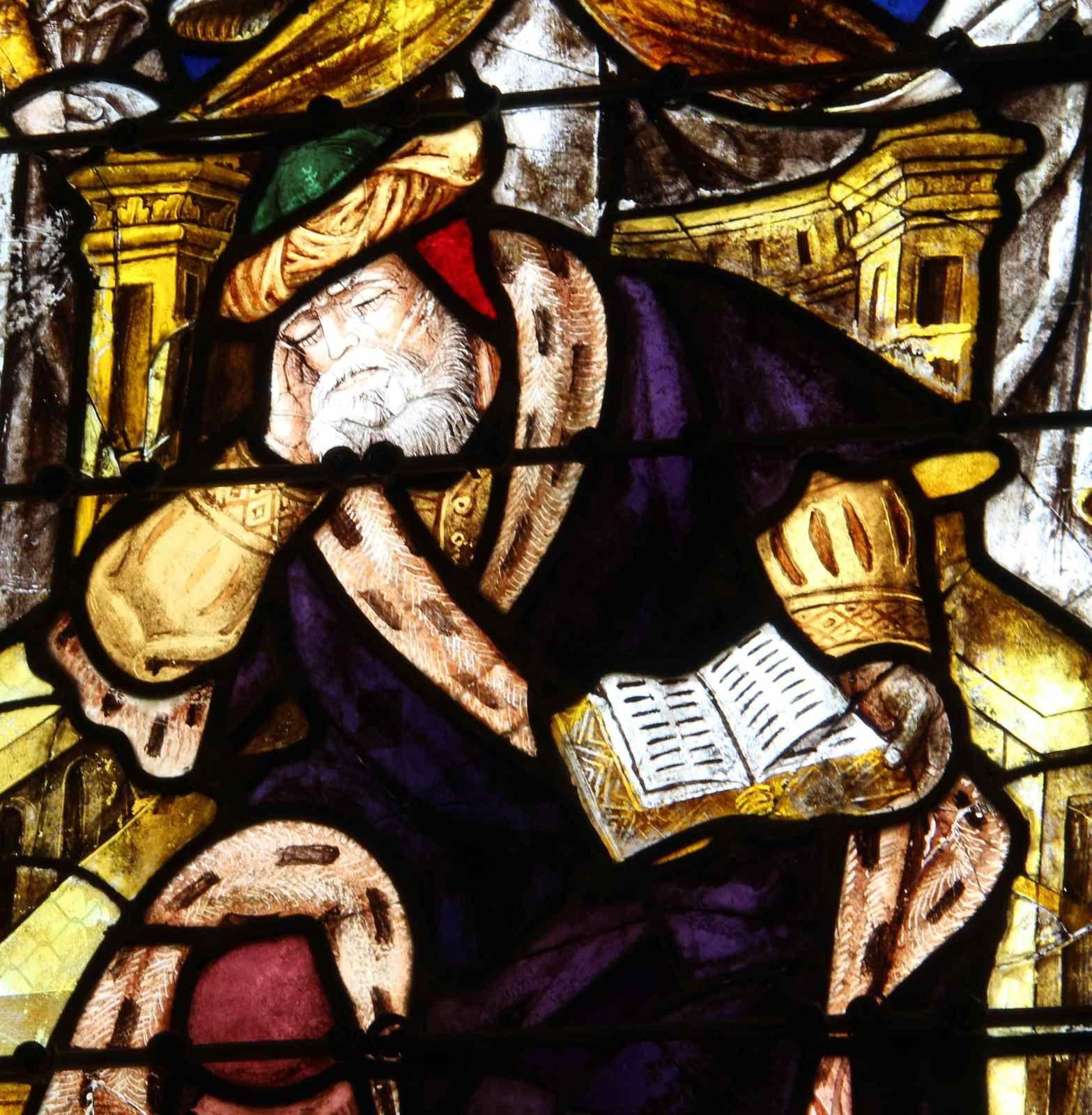 Détail d'un vitrail de le chapelle saint fiacre du  Faouët (56)