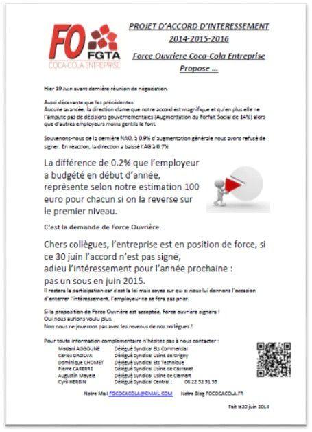 PROJET D'ACCORD D'INTERESSEMENT CCE 2014-2015-2016