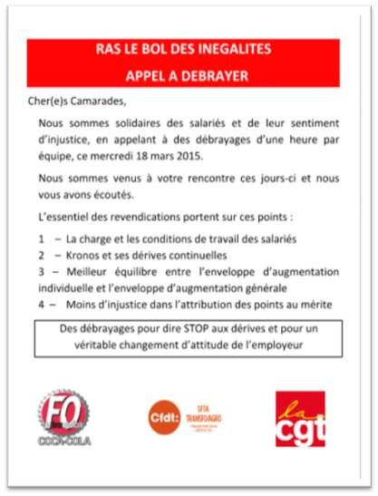 DEBRAYAGE A L APPEL DES ORGANISATIONS SYNDICALE DONT FO