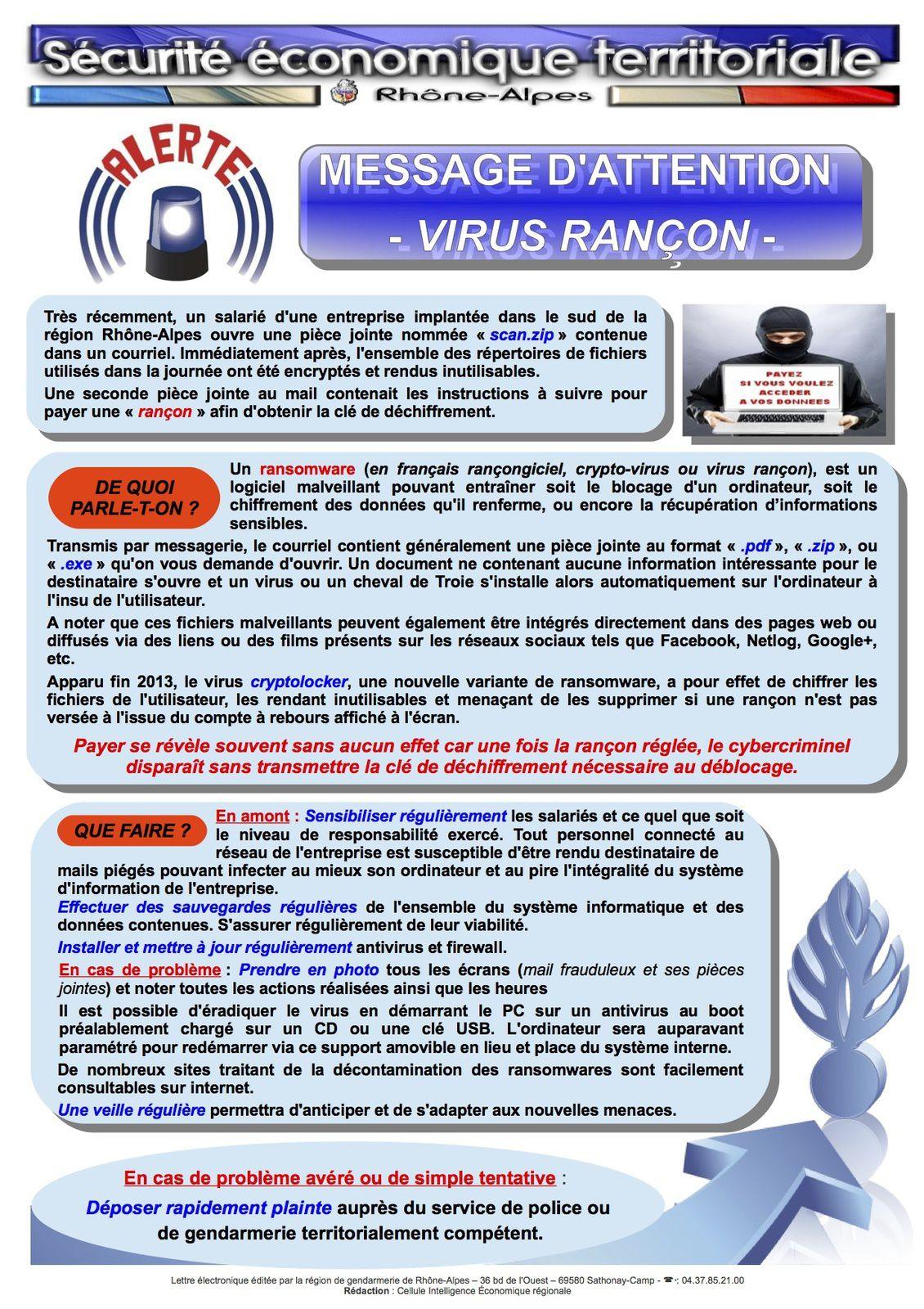 Attention aux &quot&#x3B;ransonwares&quot&#x3B;