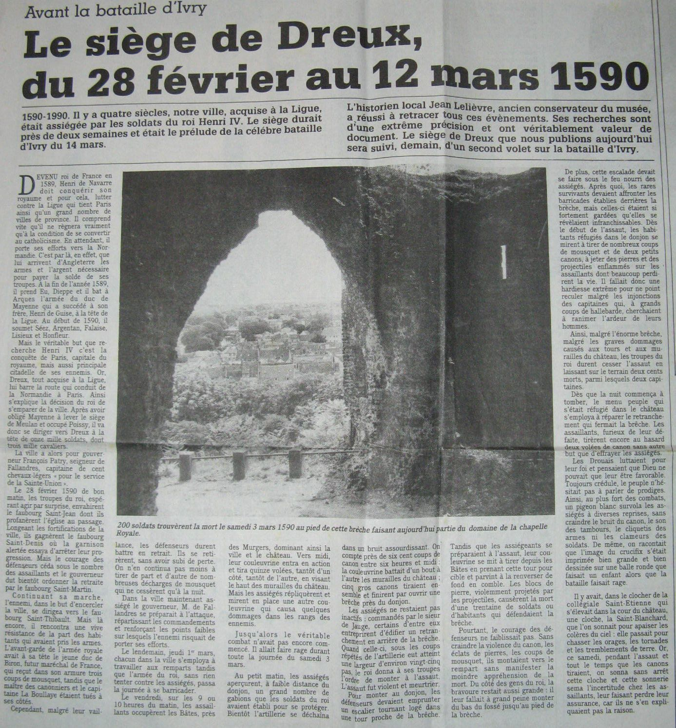 Article de Jean Lelièvre paru dans le numéro du Jeudi 12 Juillet 1990 de l'Echo Républicain.