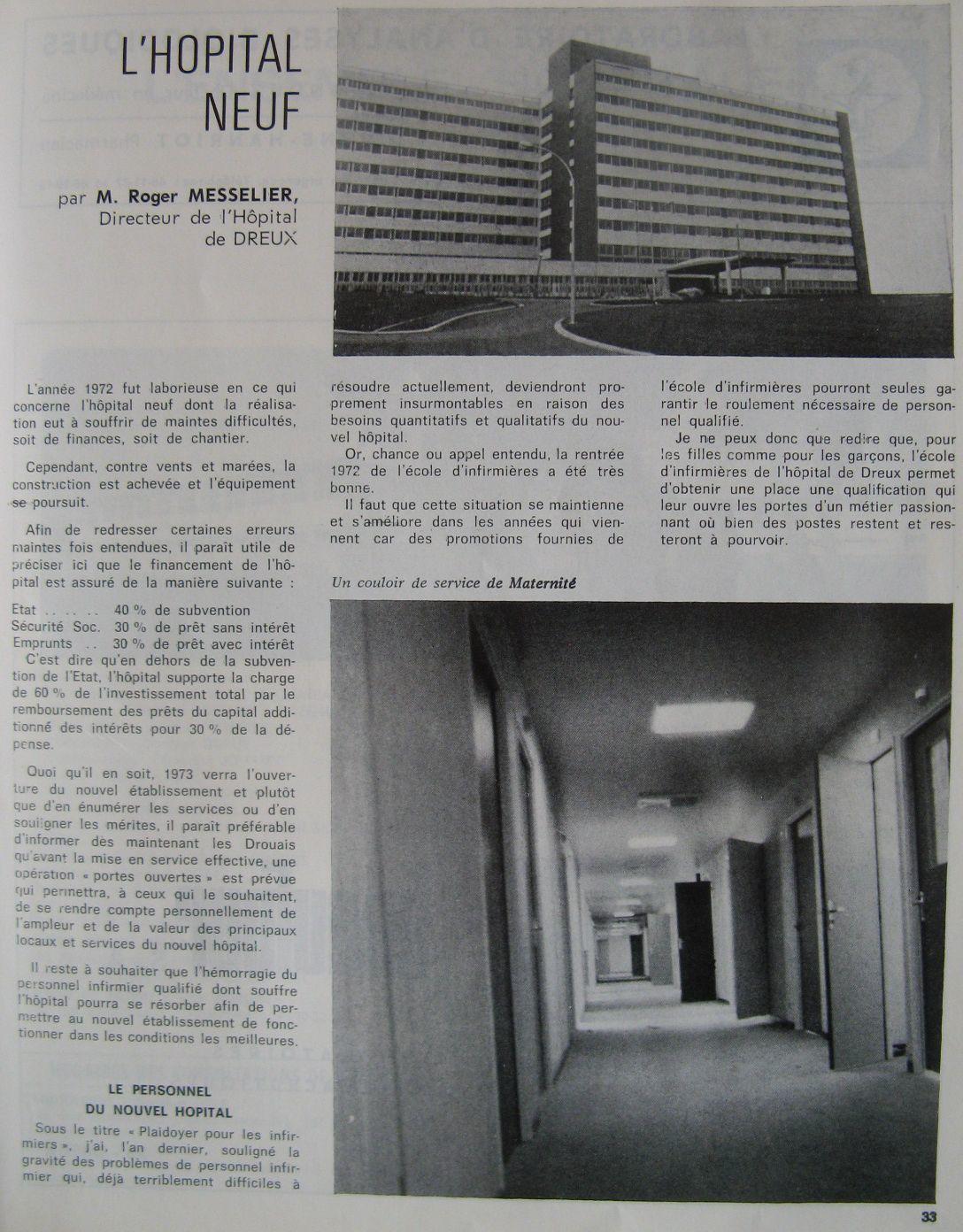 -Article 1972 pour  le Bulletin municipal de Dreux 1973.  Action républicaine avril 1973.