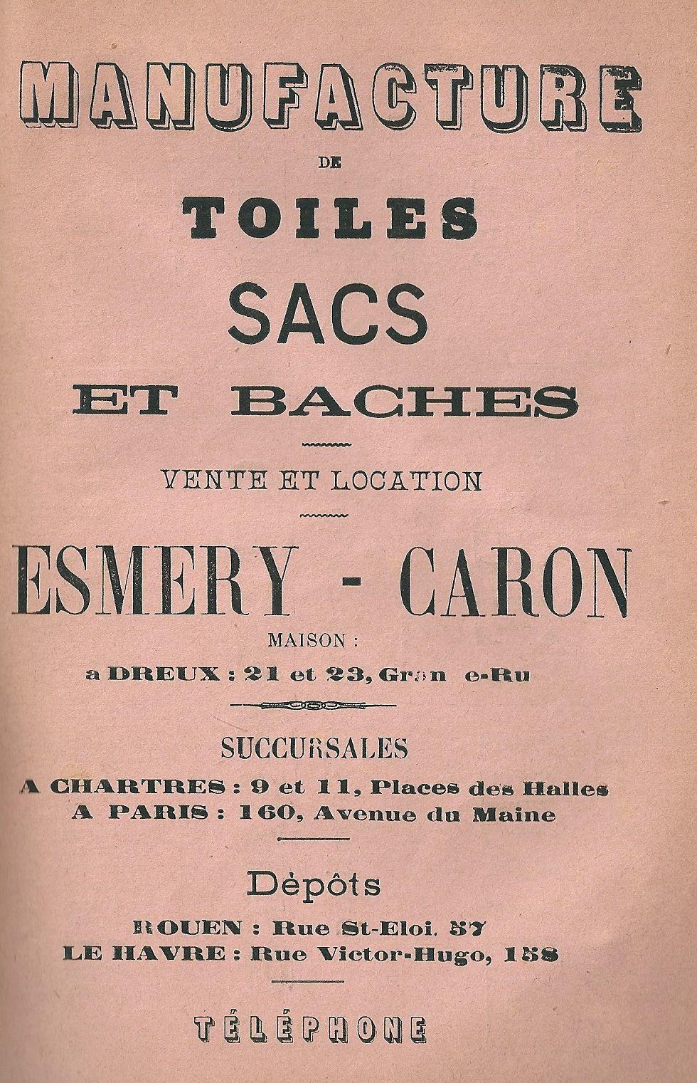 """""""Réclame"""" pour les sacs Esmery-Caron dans le Rotrou almanach drouais de 1901."""