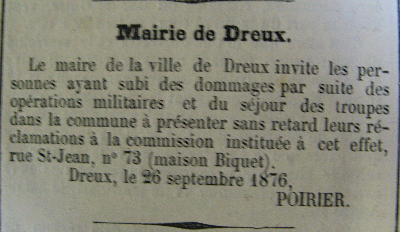 IL Y A 140 ans un Maréchal Président visitait Dreux.