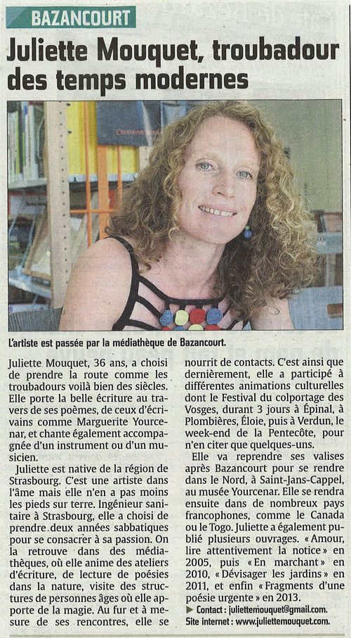 article presse, site juliette mouquet // bien public, 2014