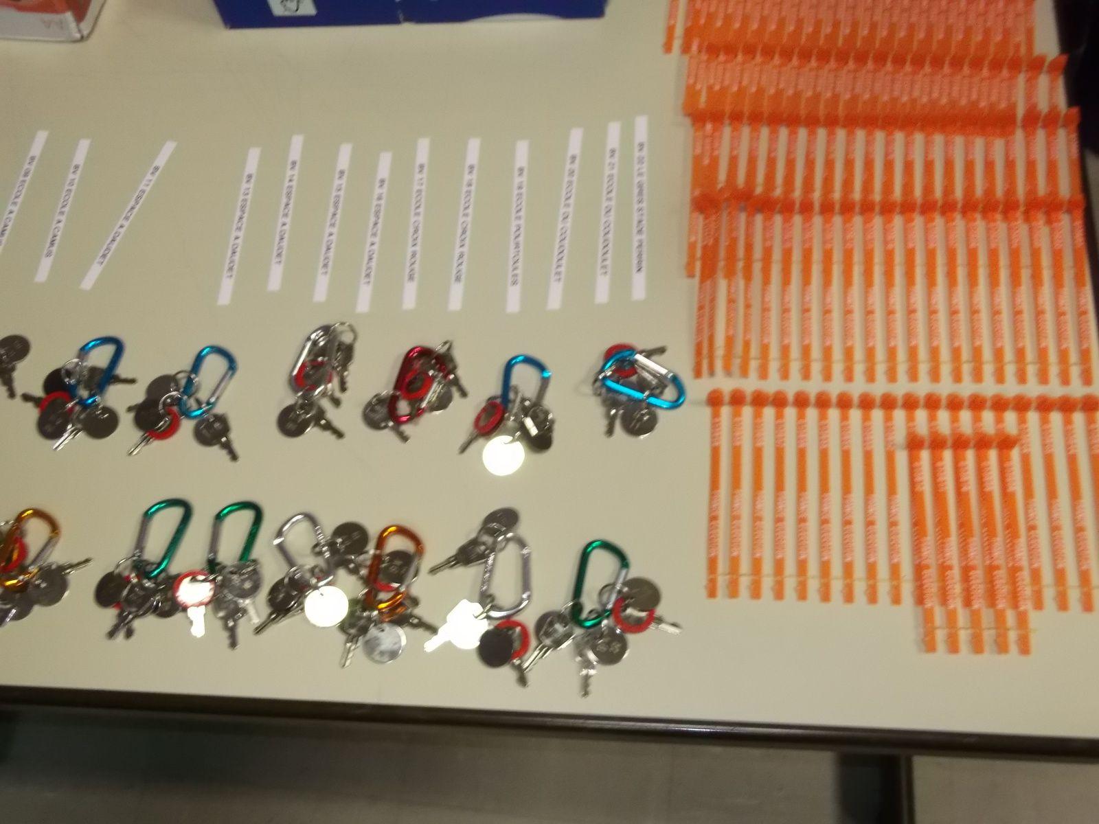 Les étiquettes d'identification, scellés de sécurité? plastique orange, les jeux de clefs interchangeables...