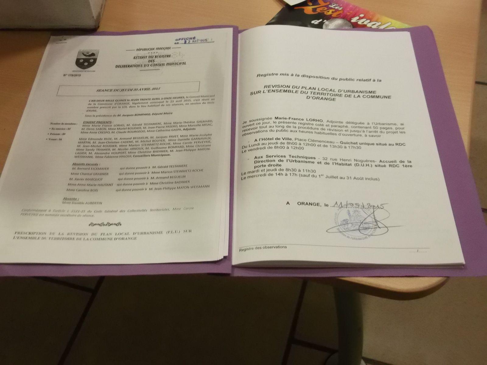 Voici le document mis a disposition pour recevoir les doléances, demandes, remarques des Orangeois.