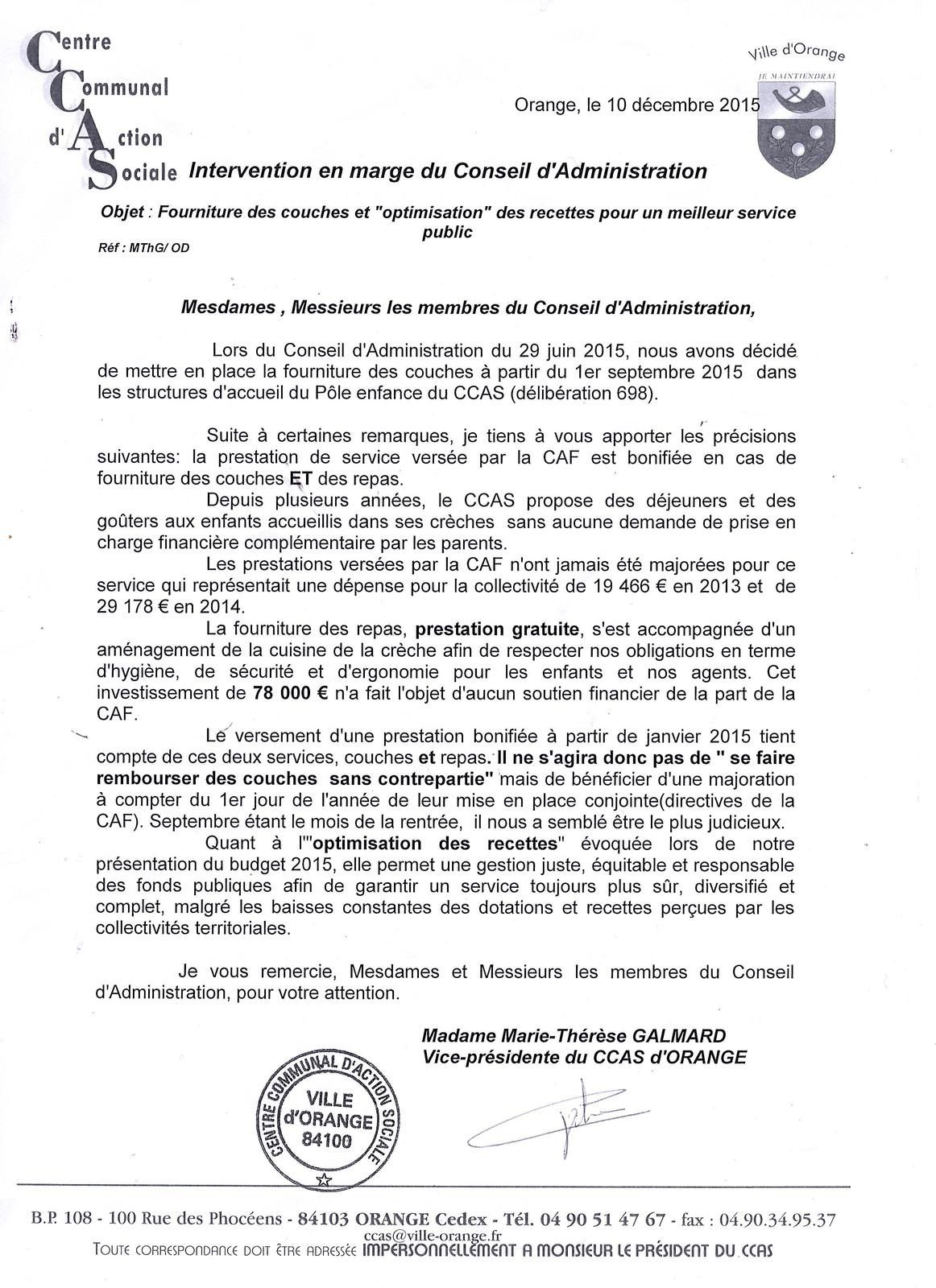 CCAS: La lettre d'explications.