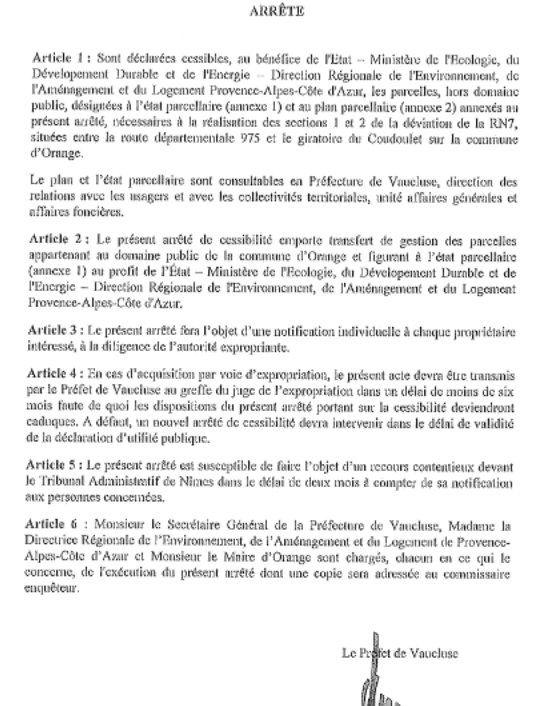 16 déc 2015, un arrêté préfectoral, un pas vers la déviation?