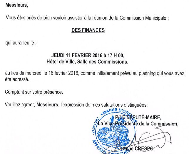 Modification de la date de la Commission des Finances