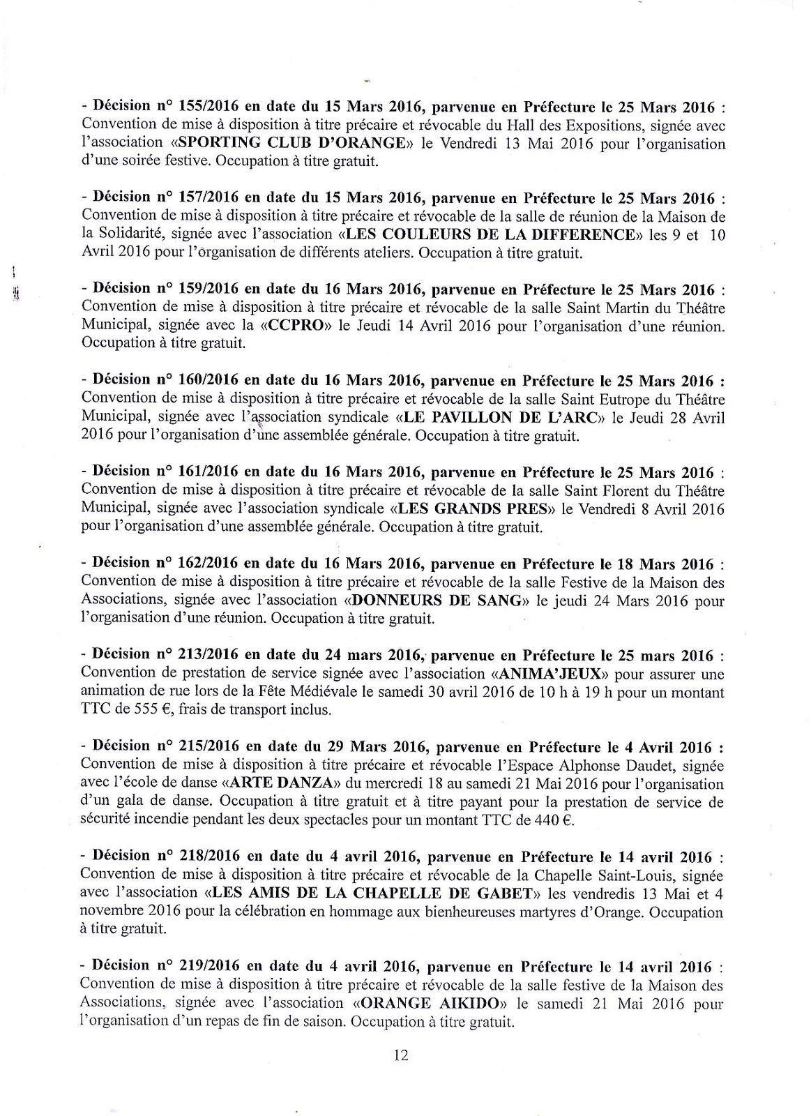 Récapitulatif des actes administratifs 1er T 2016