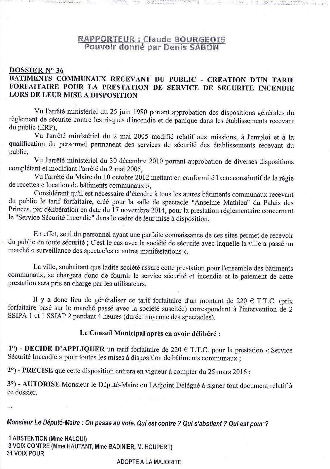 """délibération """"fille"""" du 21 mars 2016"""