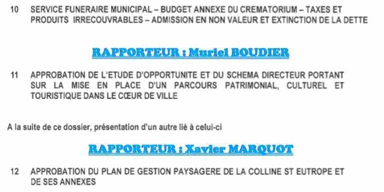 Conseil municipal 18 novembre 2016: ordre du jour.