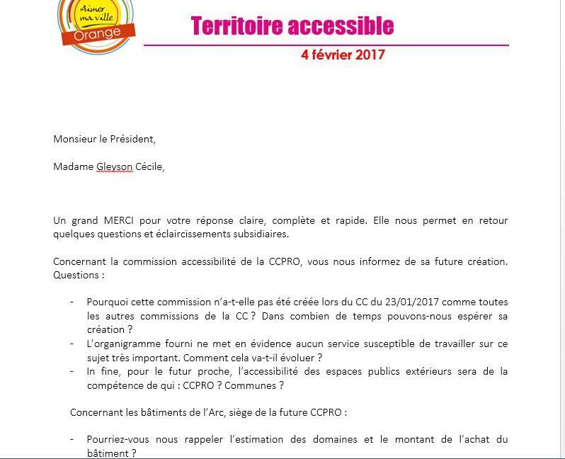 Accessibilité une réponse de la CCPRO, Jacques sourit.