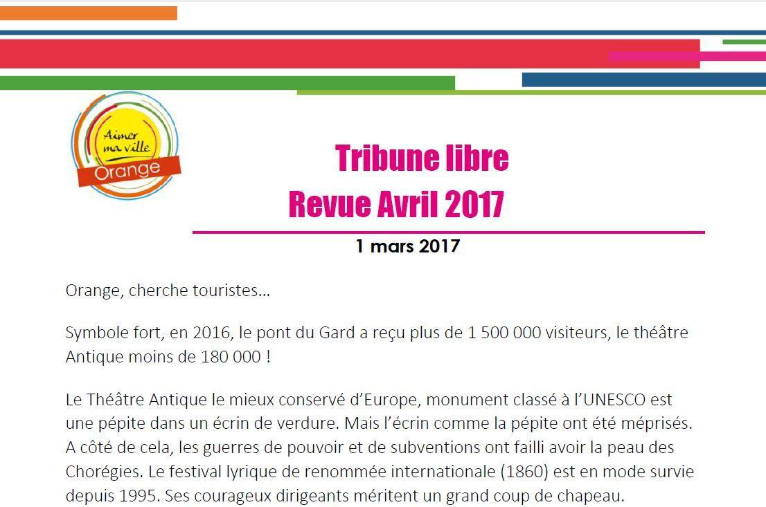 Tribune libre pour la revue municipale d'avril 2017.