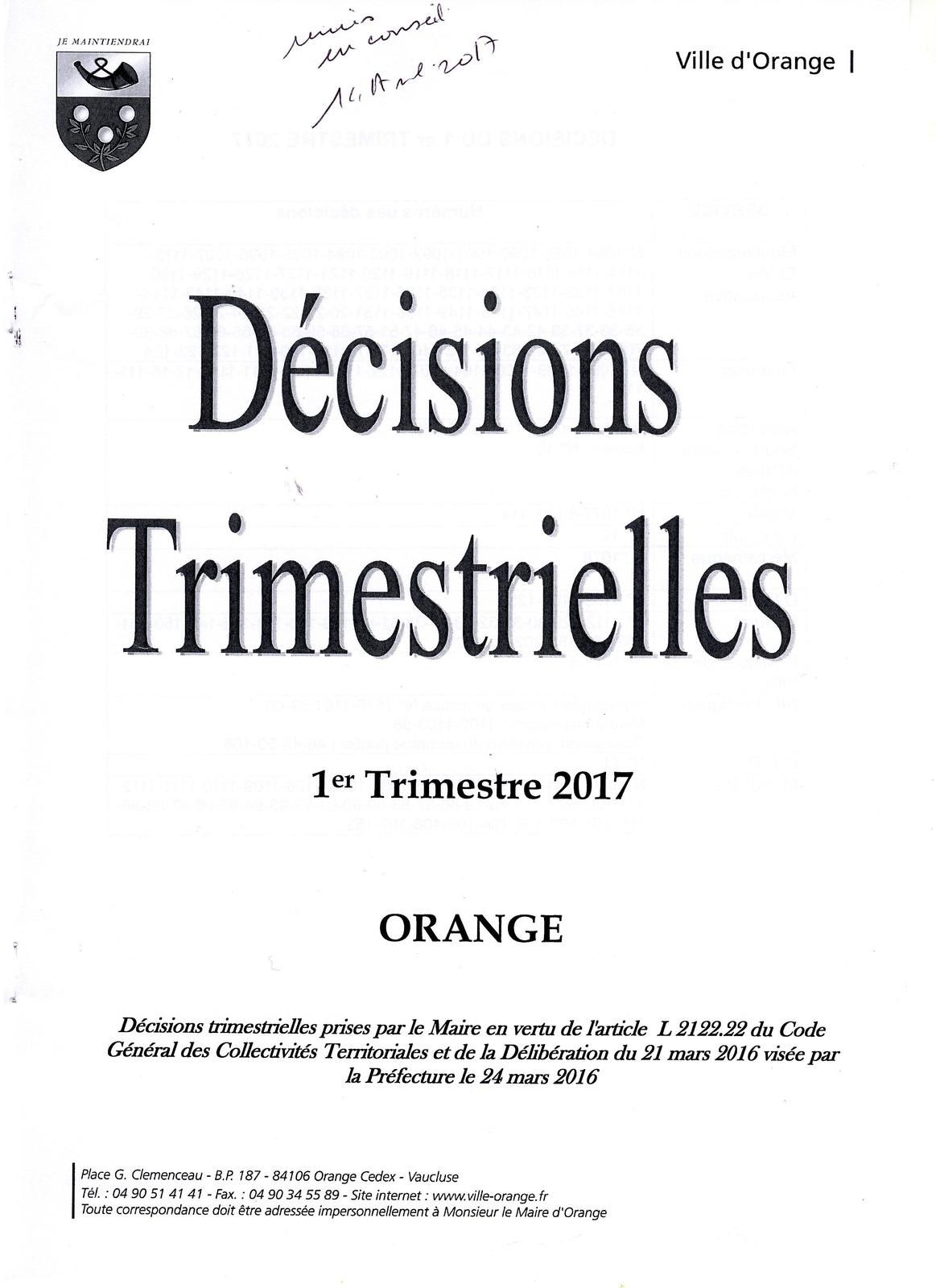 Décisions premier trimestre 2017