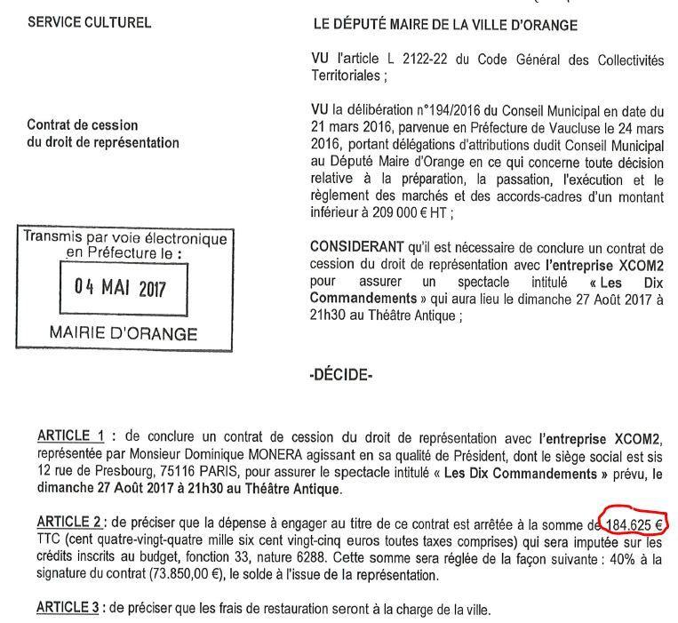 184 625€ pour le spectacle les 10 Commandements, 52 180€ + 34 140€ pour GORAN BREGOVIC...