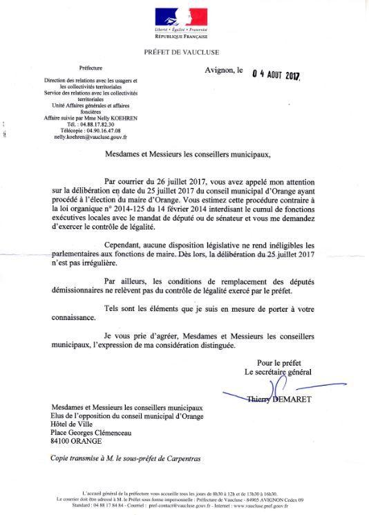 Réponse de la préfecture aux élus d'opposition.