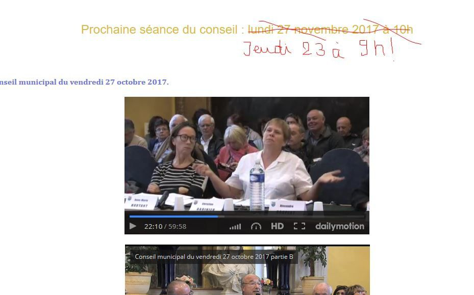 capture d'écran du site municipal