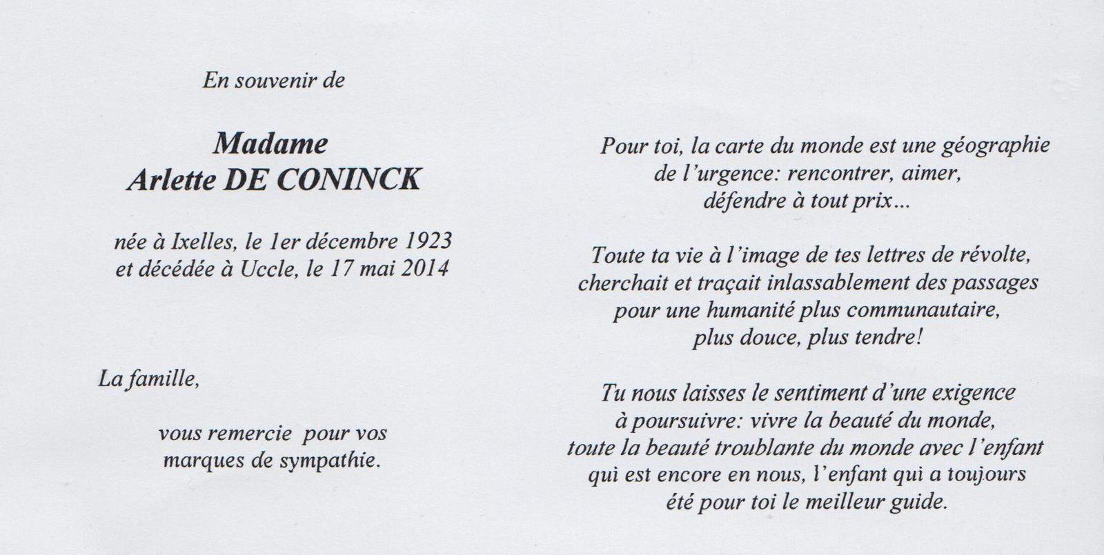 Arlette De Coninck : une grande dame nous a quitté ! par Jacques Gaillot