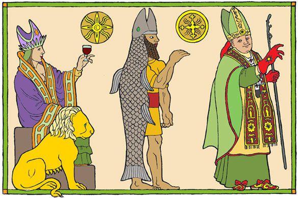 Dagon : Dieu-poisson, comme tous les dieux bibliques anciens, ils sont toujours honorés aujourd'hui.  1 Samuel 5:2 Après s'être emparés de l'arche de Dieu, les Philistins la firent entrer dans la maison de Dagon et la placèrent à côté de Dagon.