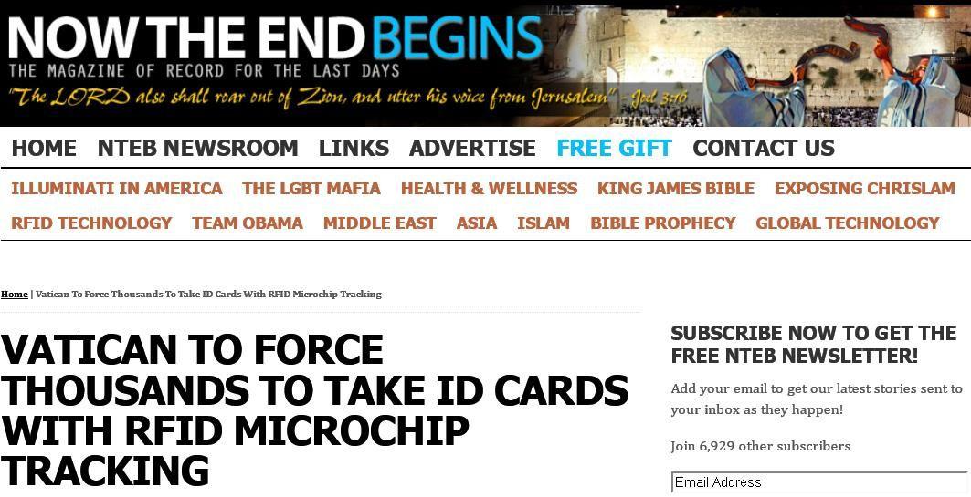 Le pape rassure les catholiques à propos de la puce RFID (Repost mai 2014)