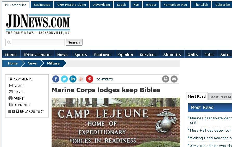 Retrait de bibles des bases militaires américaines