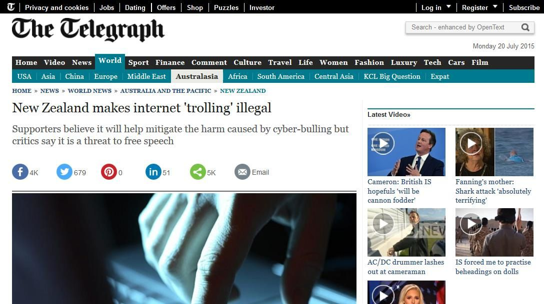 http://www.telegraph.co.uk/news/worldnews/australiaandthepacific/newzealand/11725668/New-Zealand-makes-internet-trolling-illegal.html