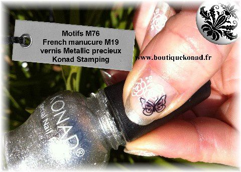 French manucure revisitée Stamping Konad M76