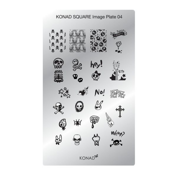 Konad stamping nail art M102 et plaque rectangulaire SQ04