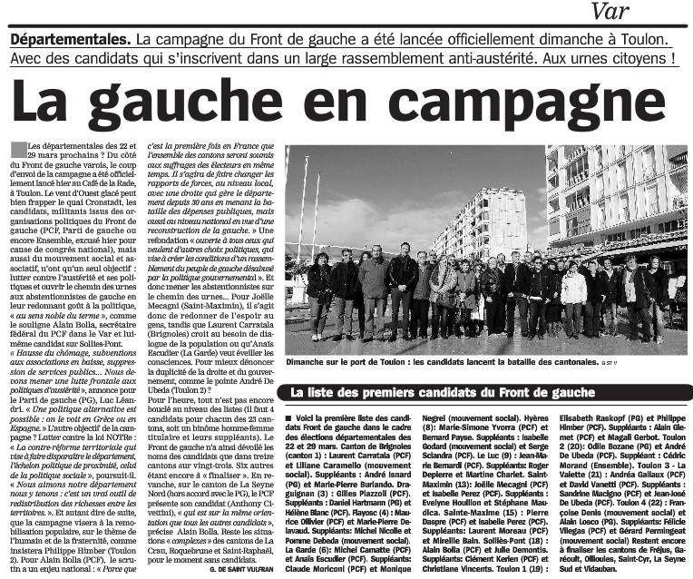 Brignoles Elections départementales (Front de Gauche)