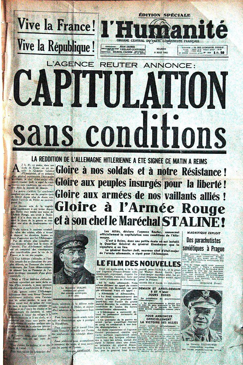 N'oubliez pas, il y a 70 ans la victoire du 8 mai