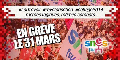 Le SNES-FSU appelle à se réunir en assemblées générales le 31 mars pour faire grève et manifester !