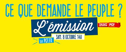 Le samedi 8 octobre à 14h, le PCF vous donne la parole